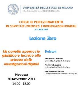 Milano: corso di perfezionamento su Computer forensics e investigazioni digitali