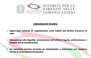AGCOM: Approvato schema di regolamento sulla tutela del diritto d'autore in rete