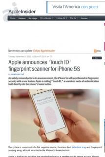 TouchID Fingerprint in Iphone 5s: impronte digitali scannerizzate