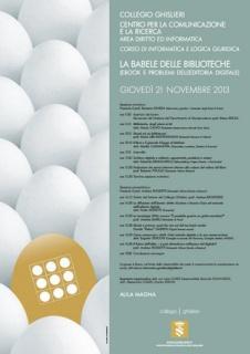 Pavia: La babele delle biblioteche (ebook, drm, privacy, licenze, atto notarile digitale)