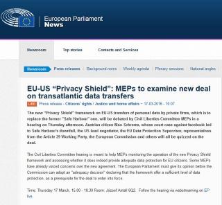BREAKING NEWS: Il Parlamento Europeo annuncia che il nuovo safe harbour non vale nulla senza il suo preventivo parere