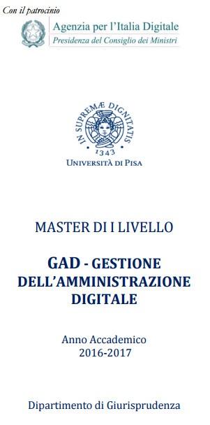 PISA: MASTER GAD - GESTIONE DELL'AMMINISTRAZIONE DIGITALE