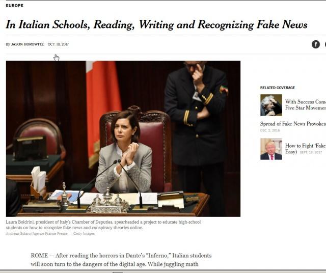 Boldrini su NYT per l'educazione alle Fake News
