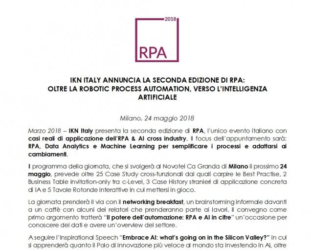 Milano, II edizione di RPA: OLTRE LA ROBOTIC PROCESS AUTOMATION, VERSO L'INTELLIGENZA ARTIFICIALE