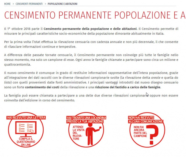 Censimento porta a porta permanente dell'Istat: indebita ingerenza nelle liberta' fondamentali