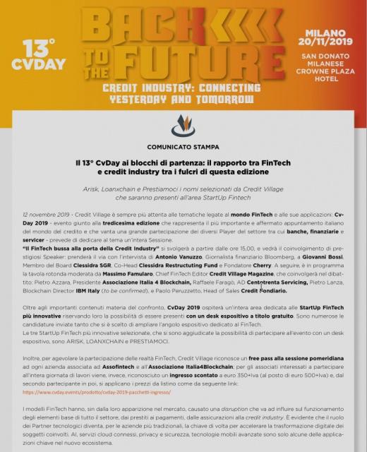Il 13° CvDay ai blocchi di partenza: il rapporto tra FinTech e credit industry tra i fulcri di questa edizione