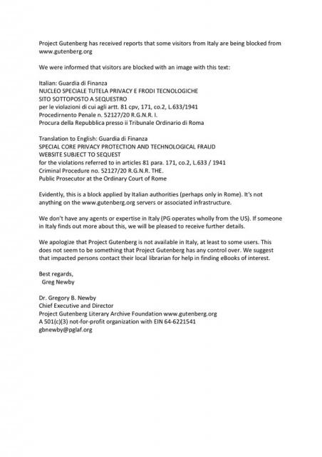 Gutenberg.org down dalla GDF perche' usato da indagati