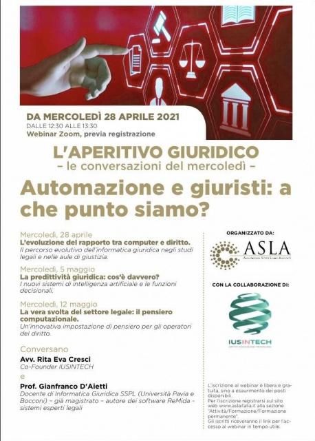 D'Aietti il 28 aprile l'aperitivo giuridico: automazione e giuristi, a che punto siamo ?