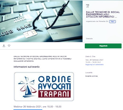 Webinar - truffe online in pratica - Ordine di Trapani - 3 crediti