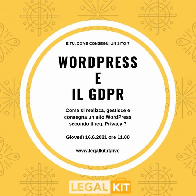 LIVE: WordPress e il GDPR, per proprietari e fornitori