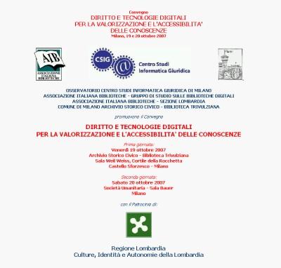 Milano: Diritto e tecnologie digitali per la valorizzazione e l'accessibilità delle conoscenze