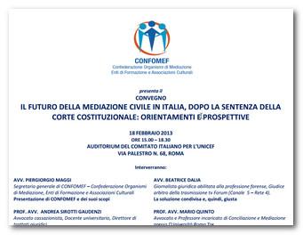 Roma: Il futuro della mediazione dopo la sentenza della Corte Costituzionale