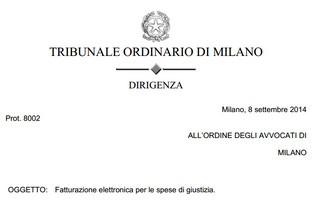 Milano: Presentazione delle fatture elettroniche per il rimborso delle spese di giustizia