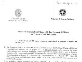 Il processo telematico cartaceo secondo il Tribunale di Milano