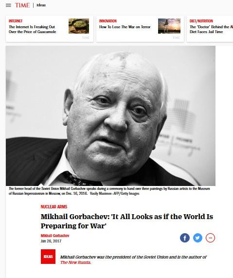 Gorbaciov: mettere fuori legge la guerra nucleare.