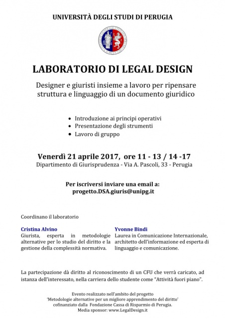 Perugia, Universita' degli studi: LABORATORIO DI LEGAL DESIGN