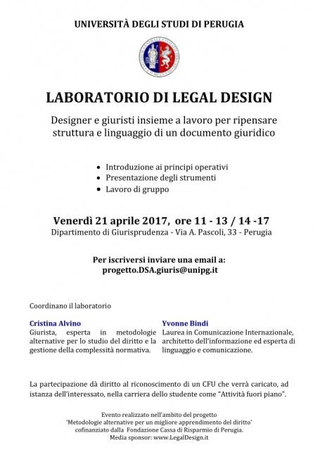 Perugia, Universita' degli studi: LABORATORIO DI LEGAL DESIGN