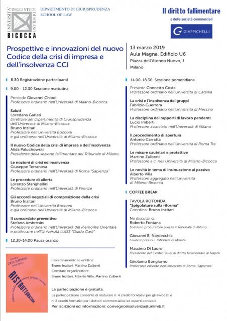 Milano: Prospettive e innovazioni del nuovo Codice della crisi di impresa e dell'insolvenza CCI