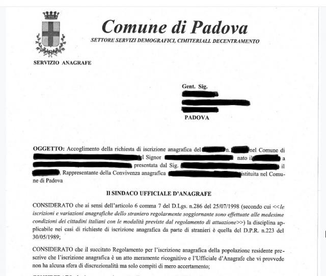 Decreto Salvini. Il comune di Padova riconoscerà l'iscrizione anagrafica dei richiedenti asilo