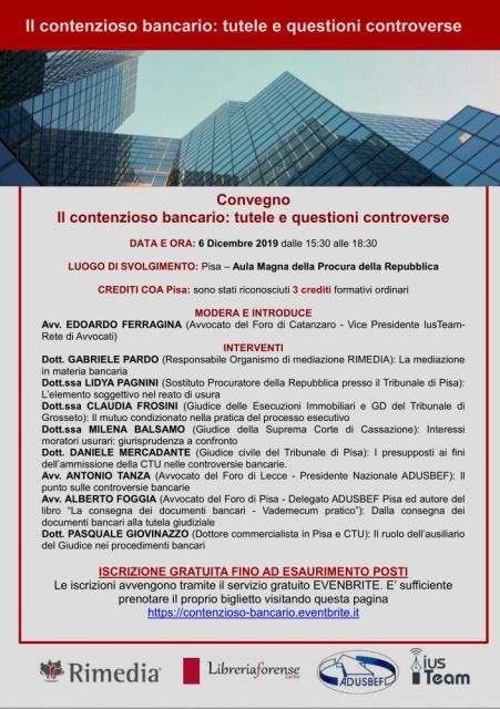 A Pisa: il contenzioso bancario