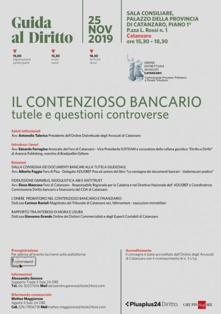 A Catanzaro, il contenzioso bancario