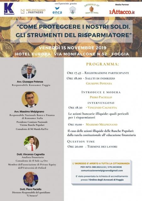 A Foggia: Come proteggere i nostri soldi. Gli strumenti del risparmiatore - Avv. Melpignano