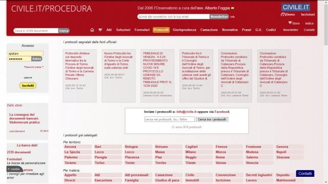La banca dati dei protocolli di Tribunali, Corti di Appello, Cassazione