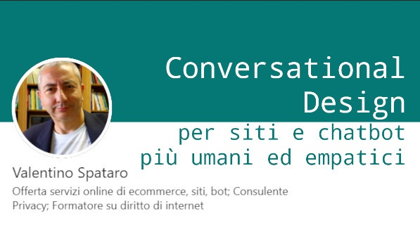 Conversational design per siti e chatbot: giovedi' 29 aprile in streaming