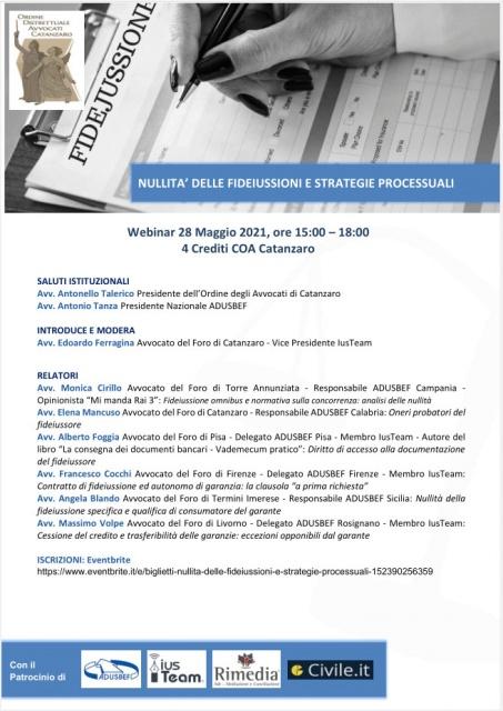 Venerdì: Nullità delle fideiussioni e strategie processuali - 28 Maggio 2021
