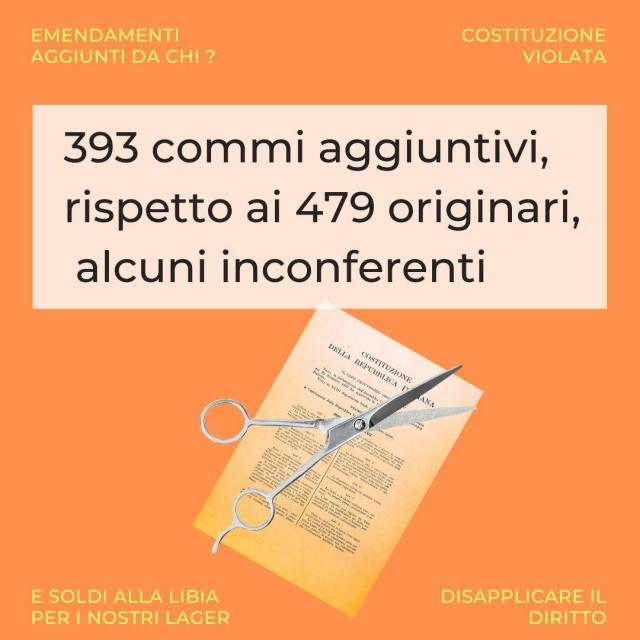 393 commi aggiuntivi, rispetto ai 479 originari, alcuni inconferenti